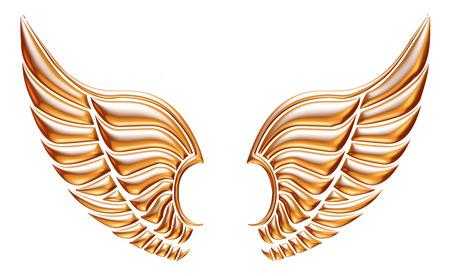 Aile d'aigle d'or isolé sur fond blanc. Banque d'images - 32420669