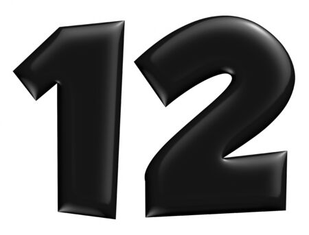 3D 1 & 2 digit numbr in black on isolated white background. photo