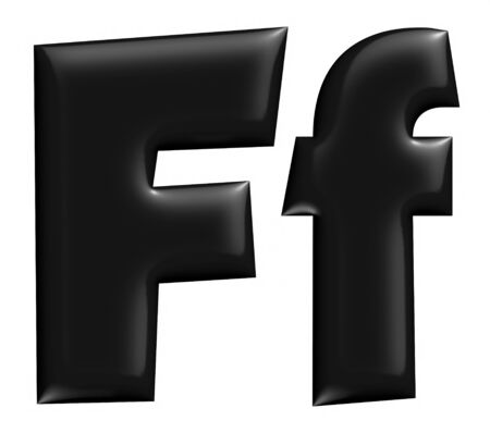 3D F alphabet with small later in black on isolated white background. photo