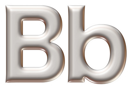 letter box: Letter B from silver alphabet on isolated white. Stock Photo