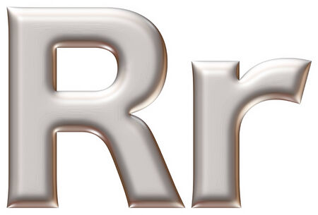 r fine: Letter R from silver alphabet on isolated white.