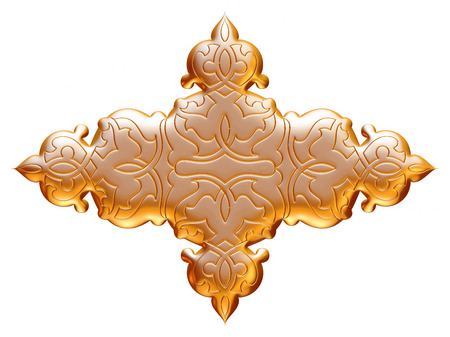 Ancient gold ornament on a white background stock photo picture