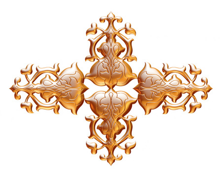 jeweller: ancient gold ornament on a white background