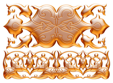 moulding: ancient gold ornament on a white background