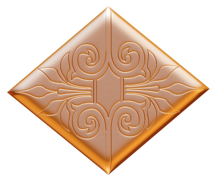 ancient gold ornament on a white background photo