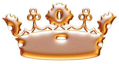 jeweled: Gold crown isolated on white background