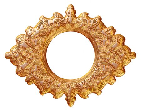 mirror frame: gold picture and mirror frame. Isolated over white background Stock Photo