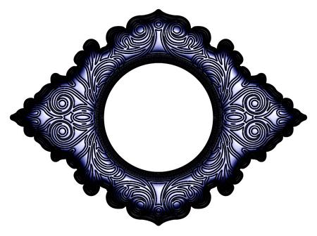 cadre antique: Noir antique frame m�tallique sur fond blanc