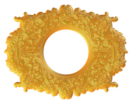 yellowrn: gold picture frame. Isolated over white background