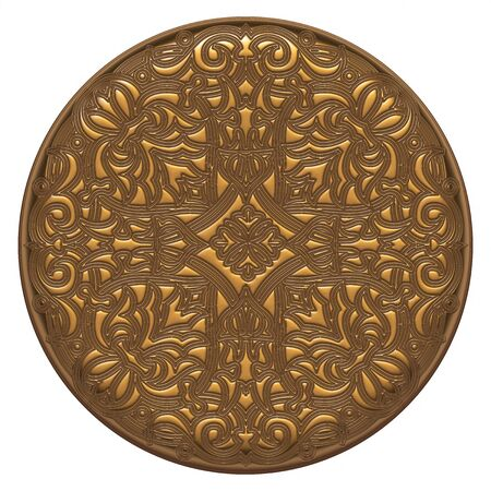 3D Old ancient gold ornament on a white background photo
