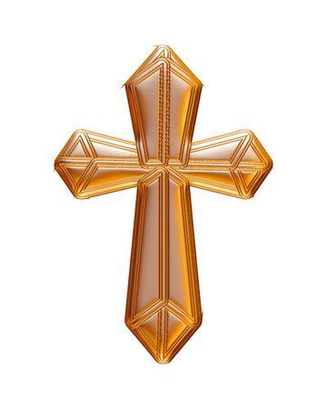 Croix d'or de Noël rendu en 3D sur fond blanc. Banque d'images - 60150482