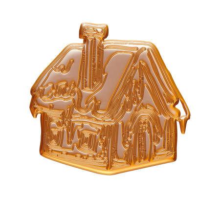 Maison de Noël d'or rendu en 3D sur fond blanc. Banque d'images - 60150486