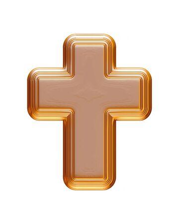 Croix d'or de Noël rendu en 3D sur fond blanc. Banque d'images - 60150491