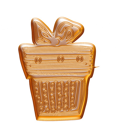 Gold Christmas gift box rendered in 3d on white background.