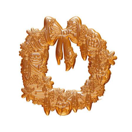 Christmas Gold rendu en 3D sur fond blanc. Banque d'images - 60150499