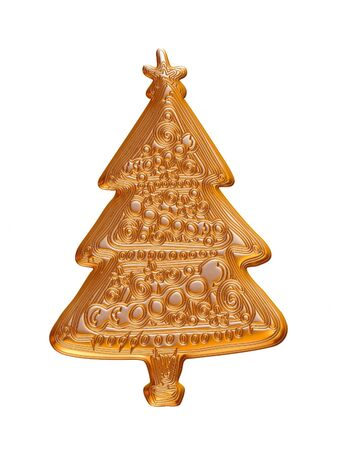Gold Christmas tree rendered in 3d on white background.