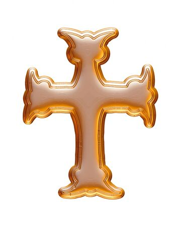 Gold Christmas cross rendered in 3d on white background.