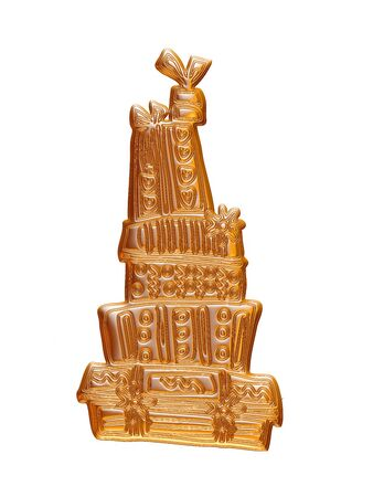 Gold Christmas cake rendered in 3d on white background.