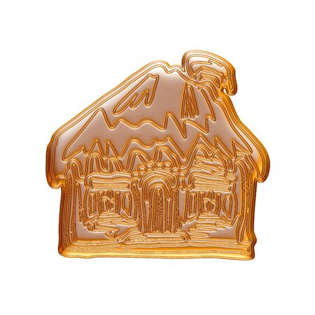 Gold Christmas house rendered in 3d on white background. Фото со стока
