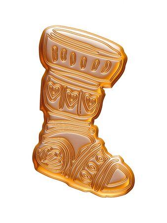 Tissu de Noël d'or rendu en 3D sur fond blanc. Banque d'images - 60225417