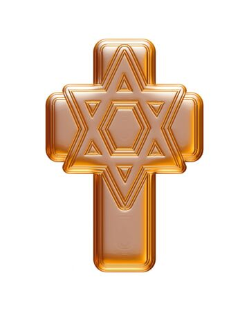 christmas cross: Gold Christmas cross rendered in 3d on white background.