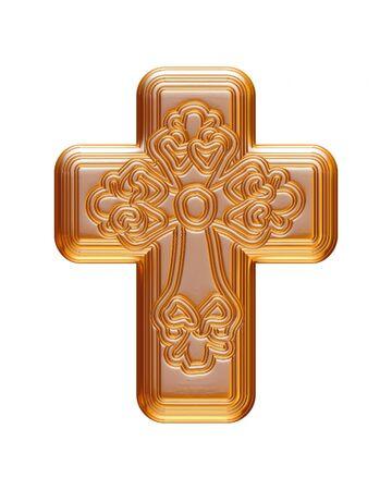 Croix d'or de Noël rendu en 3D sur fond blanc. Banque d'images - 60225421