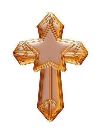 Croix d'or de Noël rendu en 3D sur fond blanc. Banque d'images - 60225425