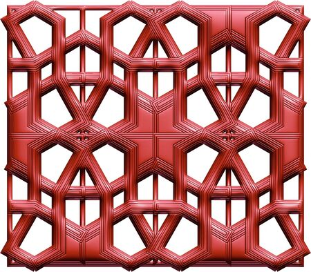 shone: Maroon 3D background with ornaments on isolated white background. Stock Photo