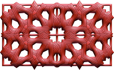Maroon 3D background with ornaments on isolated white background. Stock Photo