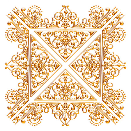 Jeu 3D d'un ornement d'or antique sur un fond blanc Banque d'images - 55754843