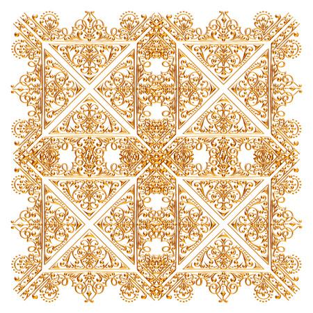 Jeu 3D d'un ornement d'or ancien sur fond blanc Banque d'images - 55754844