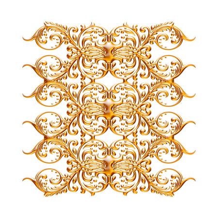 Jeu 3D d'un ornement d'or antique sur un fond blanc Banque d'images - 55754846