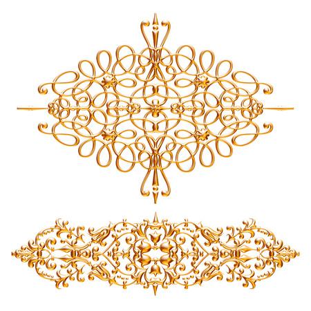 Jeu 3D d'un ornement d'or antique sur un fond blanc Banque d'images - 55754847