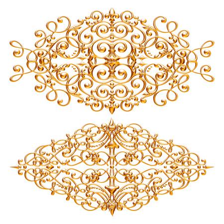 Jeu 3D d'un ornement d'or ancien sur fond blanc Banque d'images - 55754848