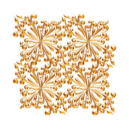 Jeu 3D d'un ornement d'or antique sur un fond blanc Banque d'images - 55754850
