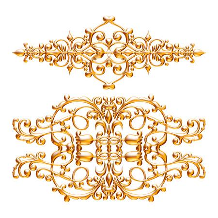 Jeu 3D d'un ornement d'or ancien sur fond blanc Banque d'images - 55754851