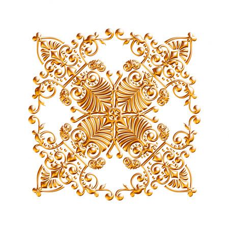 Jeu 3D d'un ornement d'or antique sur un fond blanc Banque d'images - 55754852
