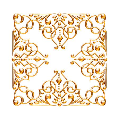 Jeu 3D d'un ornement d'or ancien sur fond blanc Banque d'images - 55754854