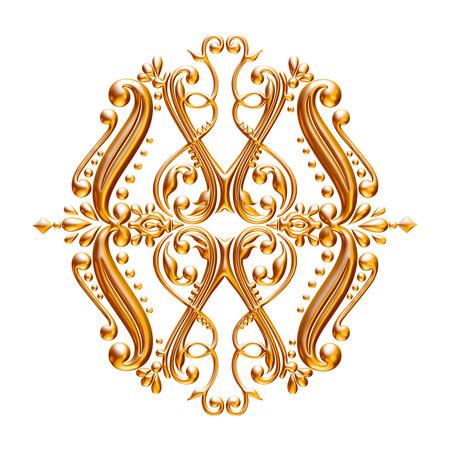 Jeu 3D d'un ornement d'or antique sur un fond blanc Banque d'images - 55754870