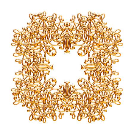 Jeu 3D d'un ornement d'or ancien sur fond blanc Banque d'images - 55754871
