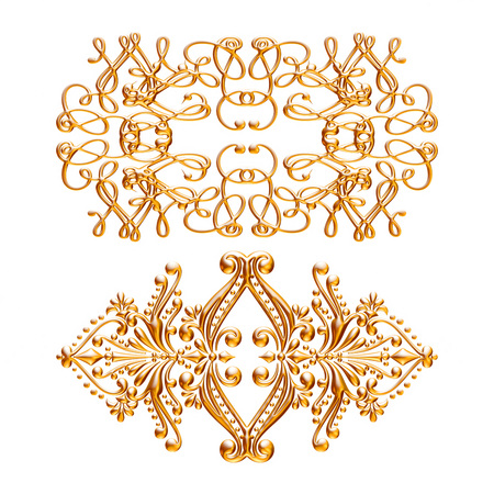 wallpaper copper gold golden: 3d set of an ancient gold ornament on a white background