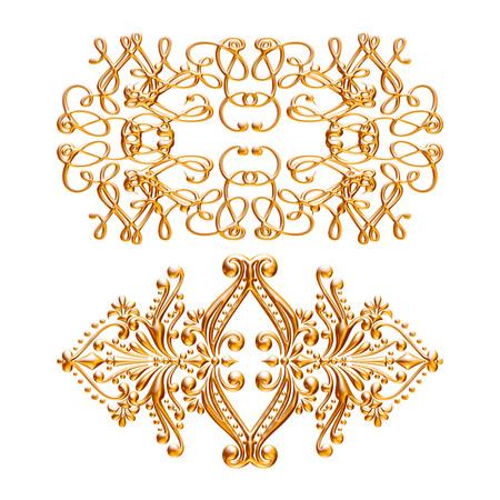 Jeu 3D d'un ornement d'or antique sur un fond blanc Banque d'images - 55754872