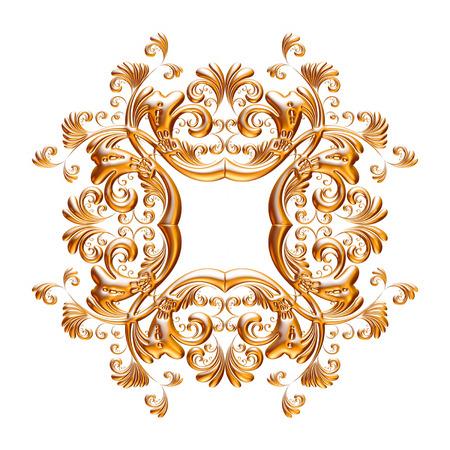Jeu 3D d'un ornement d'or ancien sur fond blanc Banque d'images - 55754876