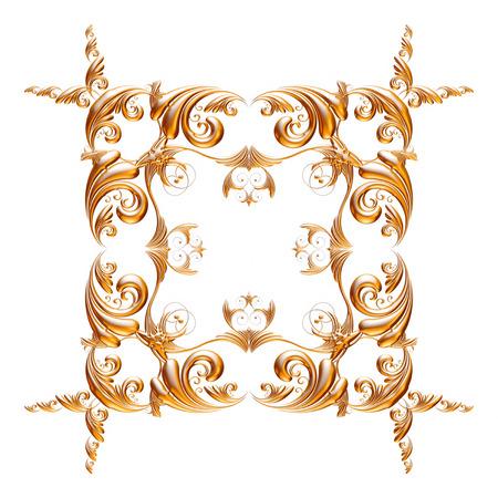 Jeu 3D d'un ornement d'or antique sur un fond blanc Banque d'images - 55754877