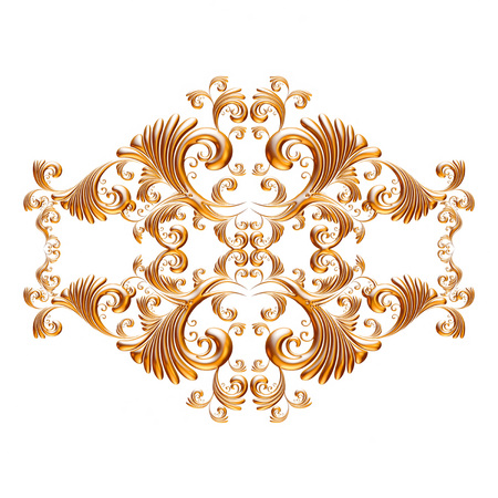 gold ornament: 3d set of an ancient gold ornament on a white background