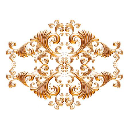 Jeu 3D d'un ornement d'or antique sur un fond blanc Banque d'images - 55754880