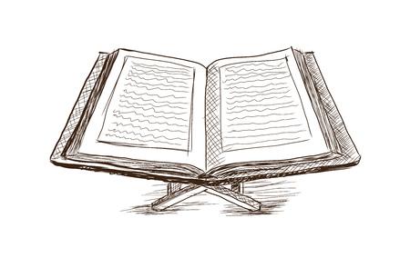 Hand drawn sketch of Koran in Vector illustration. Иллюстрация