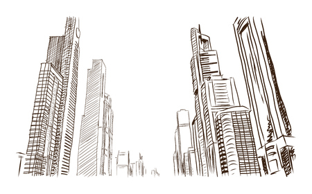 Hand drawn sketch of Sheikh Zayed road building Dubai in Vector illustration.