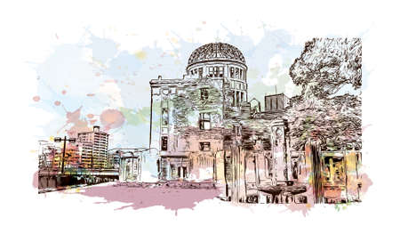 Building view with landmark of The Hiroshima Peace Memorial originally the Hiroshima. Watercolor splash with hand drawn sketch illustration in vector.