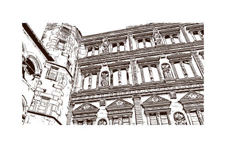 Building view with landmark of Heidelberg Castle is a ruin in Germany and landmark of Heidelberg. Hand drawn sketch illustration in vector.